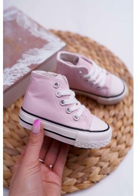 Růžové dětské vysoké tenisky
