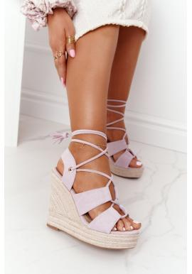 Fialové sandály pro dámy s vázáním kolem kotníku