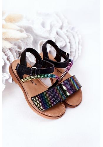Módní dětské sandály s flitry v černé barvě