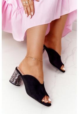 Černé elegantní dámské pantofle s ozdobným podpatkem