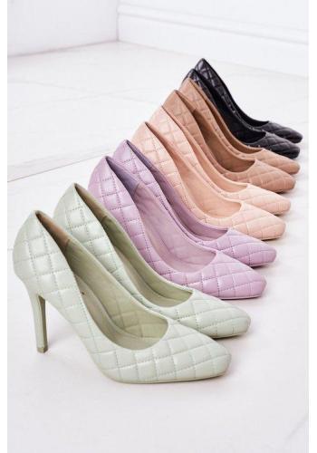 Trendy dámské prošívané lodičky ve fialové barvě