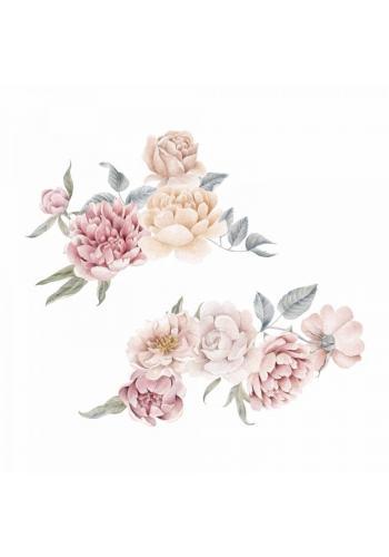 Květinová sada nálepek s motivem pivoňky a růží - větší