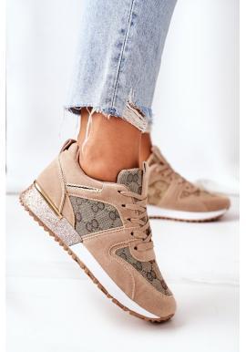 Béžovo-zlaté semišové sneakersy na platformě pro dámy