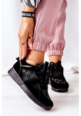 Semišové dámské Sneakersy černo-stříbrné barvy na platformě