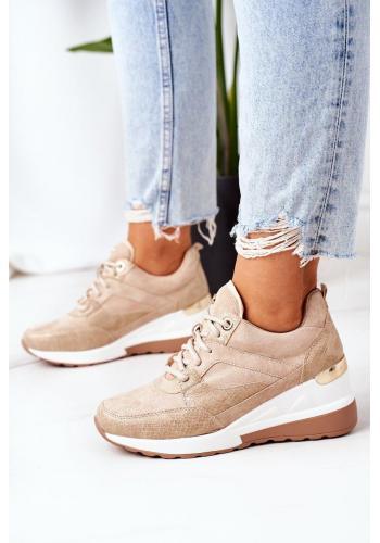 Dámské módní Sneakersy na klínovém podpatku v béžové barvě