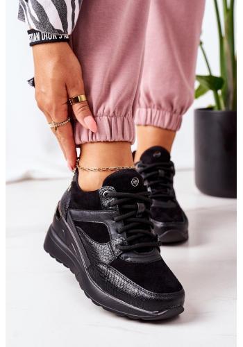 Černé módní Sneakersy na klínovém podpatku pro dámy