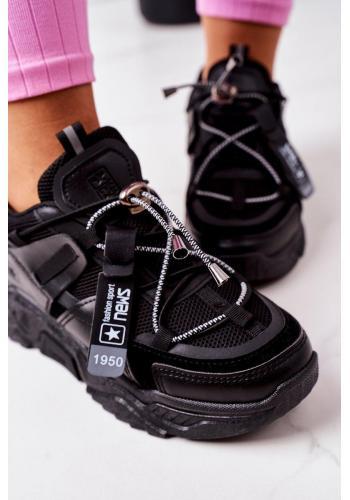 Sportovní dámské Sneakersy černé barvy s elastickými šňůrkami