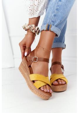 Dámské sandály na platformě v žluto-hnědé barvě