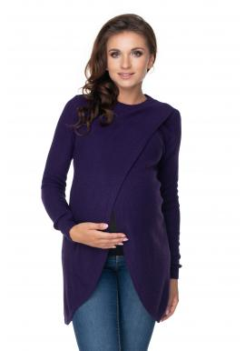 Fialový těhotenský svetr asymetrického střihu