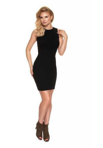 Černé přiléhavé žebrované šaty bez rukávů pro dámy