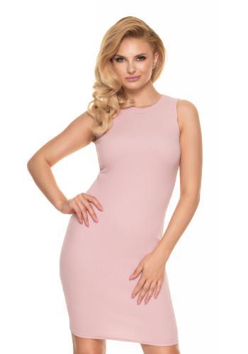 Přiléhavé dámské žebrované šaty růžové barvy bez rukávů