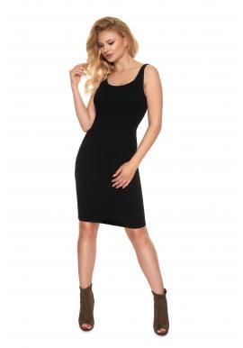 Dámské přiléhavé žebrované šaty s hlubokým výstřihem v černé barvě