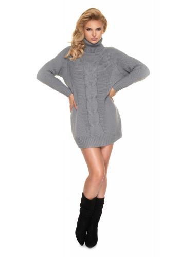 Dámské svetrové mini šaty s rolákem v šedé barvě