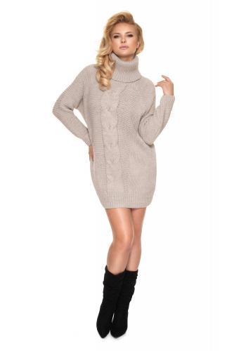 Béžové svetrové mini šaty s rolákem pro dámy