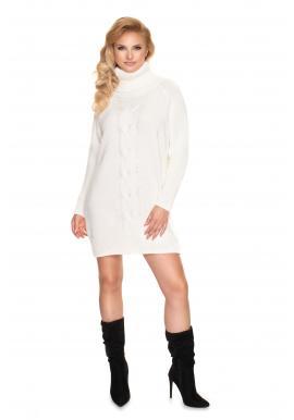 Svetrové dámské mini šaty krémové barvy s rolákem