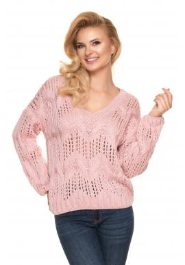 Dámský ažurový oversize svetr s véčkovým výstřihem v růžové barvě