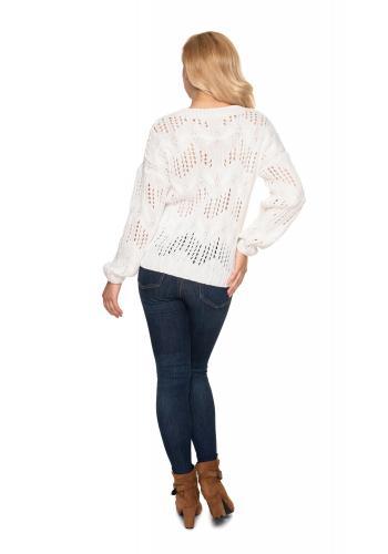 Krémový ažurový oversize svetr s véčkovým výstřihem pro dámy
