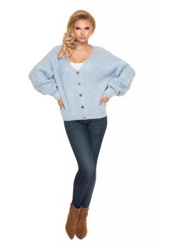 Dámský krátký oversize svetr s dřevěnými knoflíky v světle modré barvě