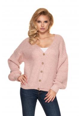 Světle růžový krátký oversize svetr s dřevěnými knoflíky pro dámy