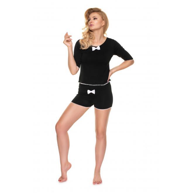 Dámské dvoudílné pyžamo s mašlí v černé barvě