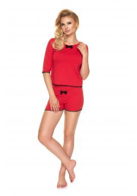 Dvoudílné dámské pyžamo červené barvy s mašlí