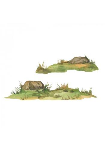 Sada nálepek v podobě trávy a skály