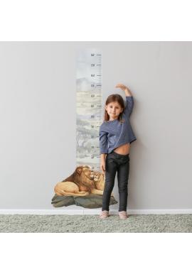 Safari výškový metr na zeď s motivem lvího páru