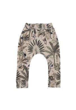 Dětské bavlněné kalhoty s gumičkou a s motivem opic
