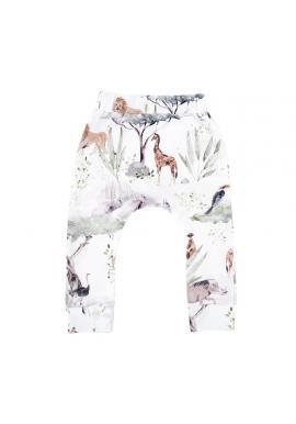Bavlněné dětské kalhoty s gumičkou a s motivem Savany