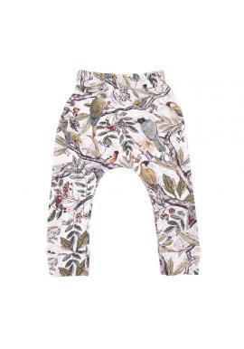 Dětské bavlněné kalhoty s gumičkou a s motivem ornitologie