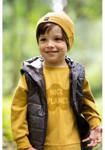 Hořčicová dětská mikina s nápisem Nice Planet
