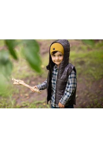 Módní dětská vesta v grafitové barvě