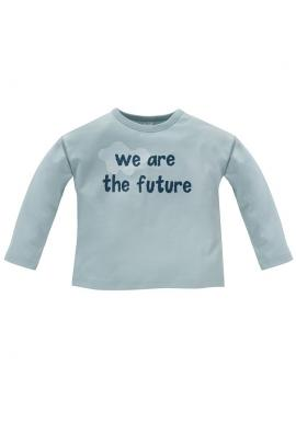 Chlapecké triko s dlouhým rukávem a nápisem v modré barvě
