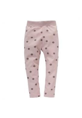 Bavlněné dívčí růžové legíny s puntíky