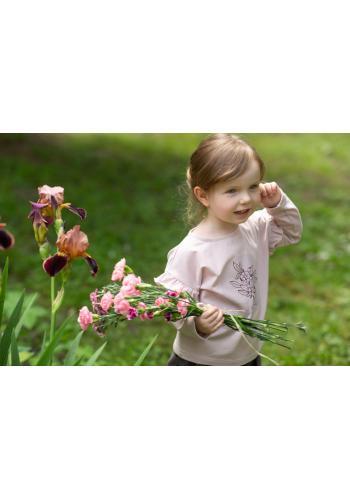 Dívčí halenka s dlouhým rukávem a volány v růžové barvě