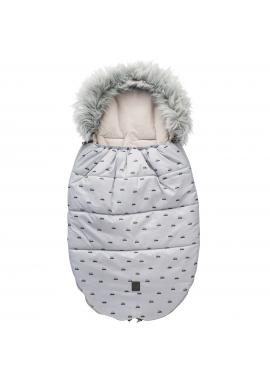 Dětský fusak na zimu s autíčky v šedé barvě