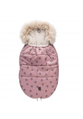 Dětský fusak na zimu s kvítky v růžové barvě