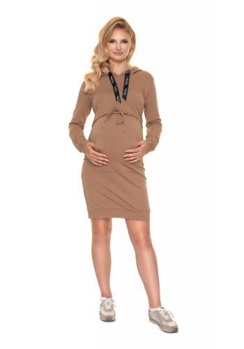 Těhotenské šaty s kapucí a krmným panelem v hnědé barvě