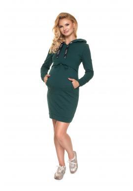 Těhotenské šaty s kapucí a krmným panelem v zelené barvě