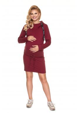 Klasické těhotenské šaty s krmným panelem v bordó barvě