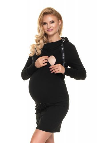 Černé kojící šaty s krmným panelem a vázáním v pase