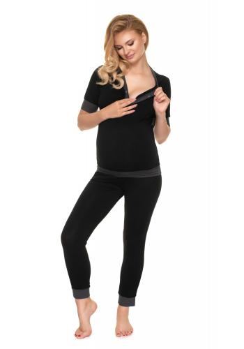 Těhotenské a kojící pyžamo s knoflíky v černé barvě