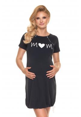 Noční těhotenská a kojící košile v tmavě šedé barvě s potiskem